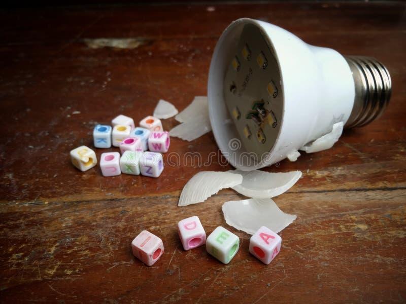 Photo Illustration, Stuck Idea, text from plastic alphabet bead and broken small led bulb. Illustration, Stuck Idea, text from plastic alphabet bead and broken royalty free illustration