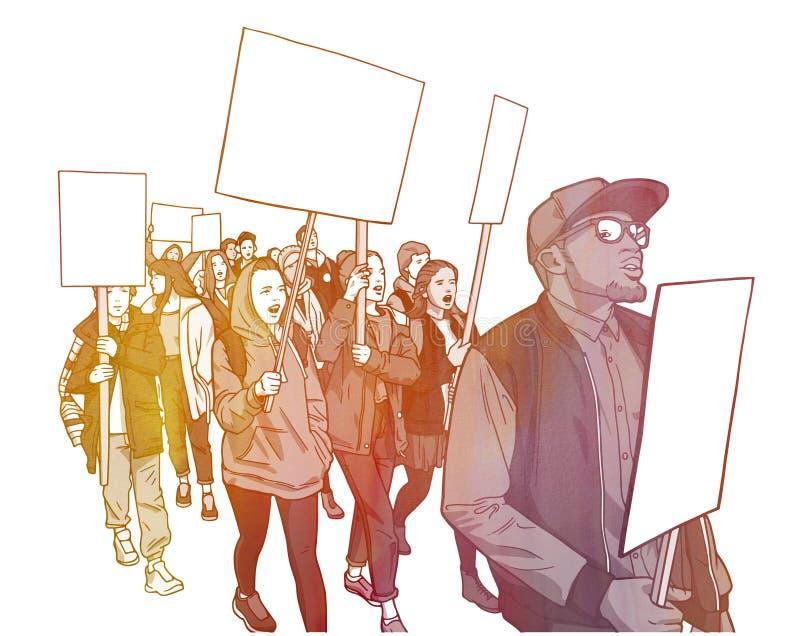 Download Illustration Of Student Demonstration With Blank Signs Stock Illustration - Illustration: 92629570