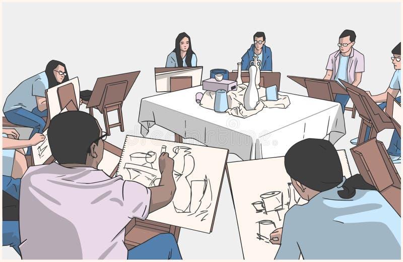 Illustration of students drawing still life in art studio. Stylized illustration of students at art class stock illustration