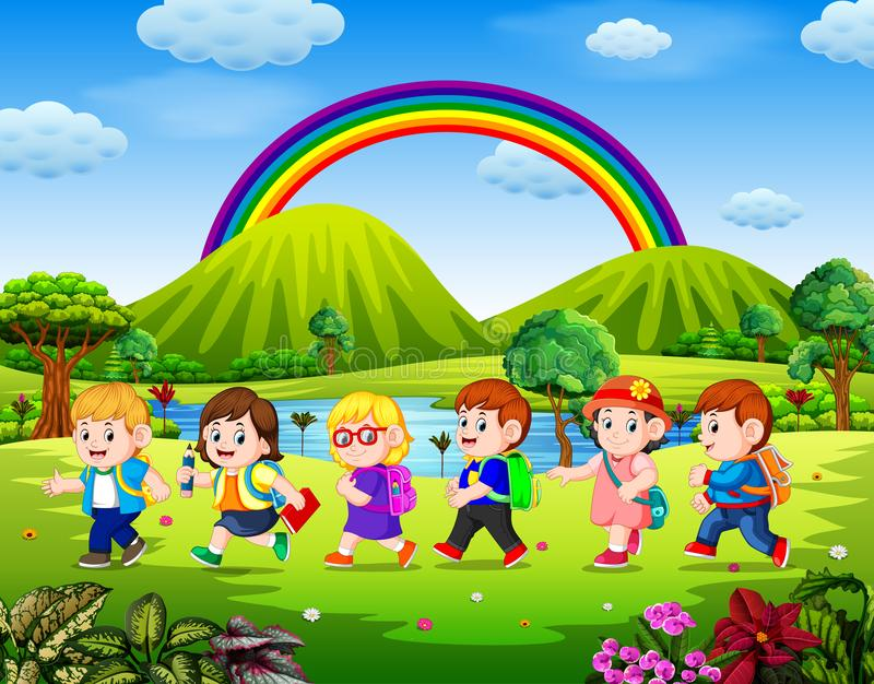The students go to school in the sunny day vector illustration