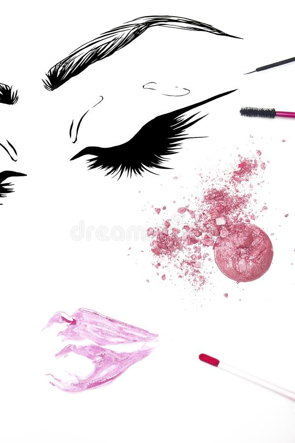 Illustration style cosmetic on white background stock photo