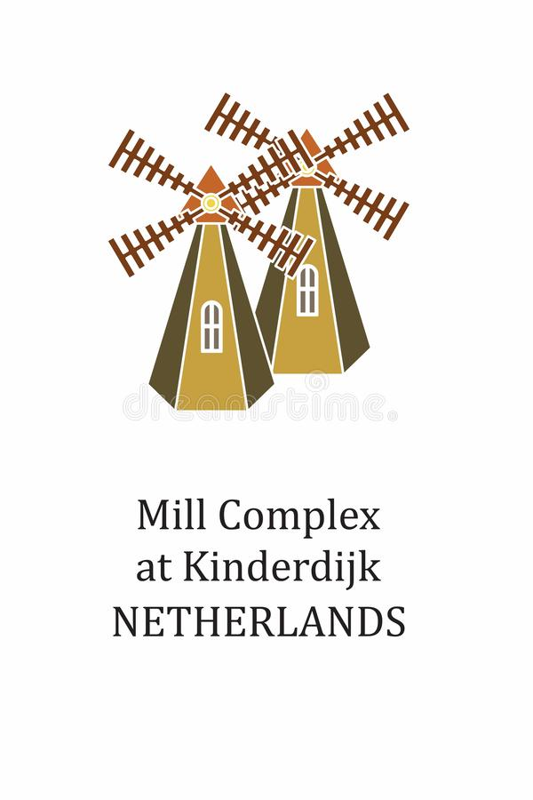 The illustration with landmark The Mill Complex. Illustration in the style of a flat design on the theme of The Mill Complex royalty free illustration
