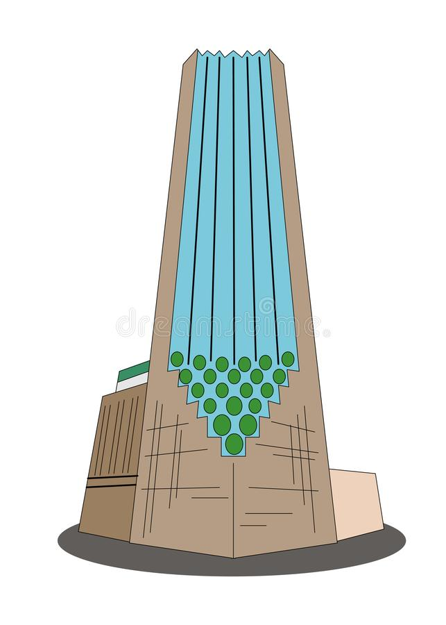 Illustration in the style of flat design on the theme of the Trump Tower. Illustration - modern Trump Tower in the style of material design vector illustration