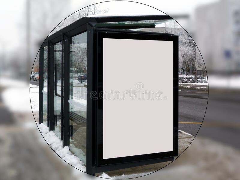 Illustration style raster bus shelter in circular frame royalty free stock photography