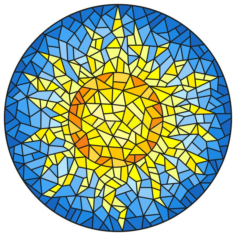 Stained glass illustration abstract cracked sun against the blue sky, round image stock illustration