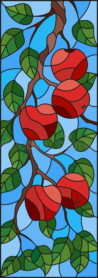 Stained glass illustration with the branches of Apple trees , the fruit branches and leaves against the sky,vertical orientation. Illustration in the style of a royalty free illustration
