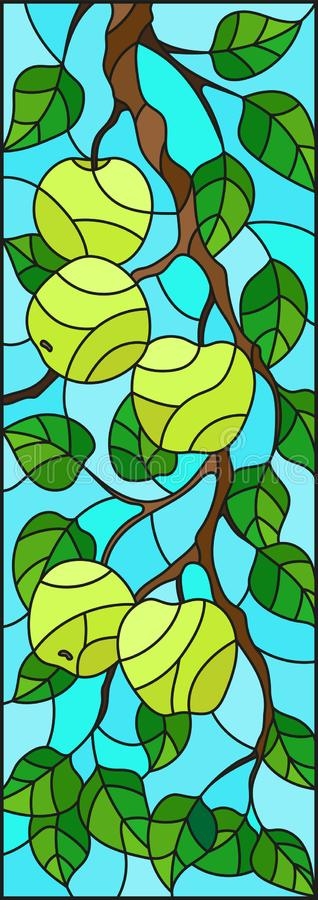 Stained glass illustration with the branches of Apple trees , the fruit branches and leaves against the sky,vertical orientation. Illustration in the style of a stock illustration