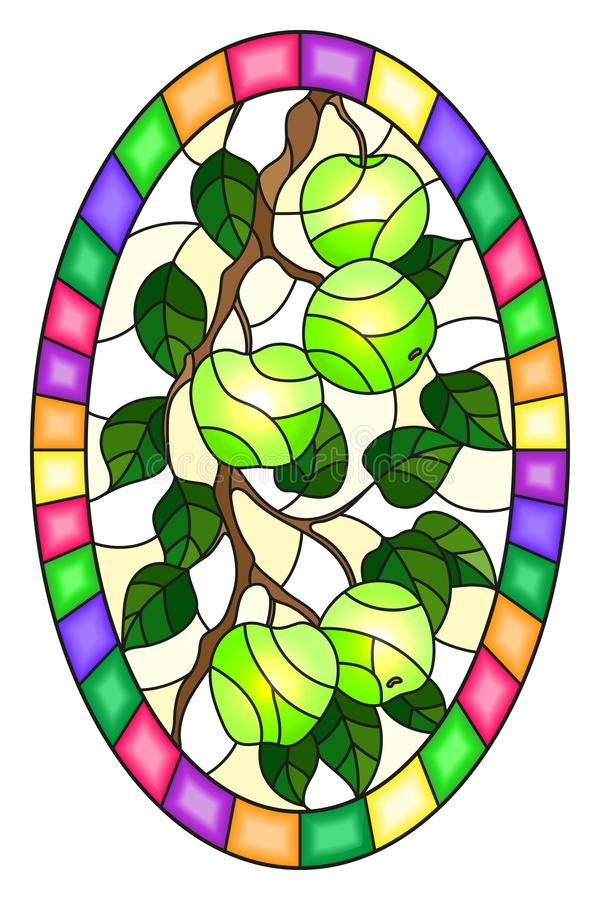 Stained glass illustration with the branches of Apple trees , the fruit branches and leaves ,oval image in bright frame. Illustration in the style of a stained vector illustration