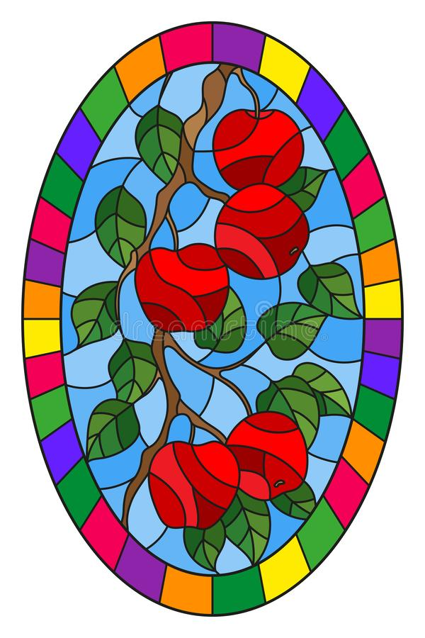 Stained glass illustration with the branches of Apple trees , the fruit branches and leaves against the sky,oval image in bright. Illustration in the style of a vector illustration