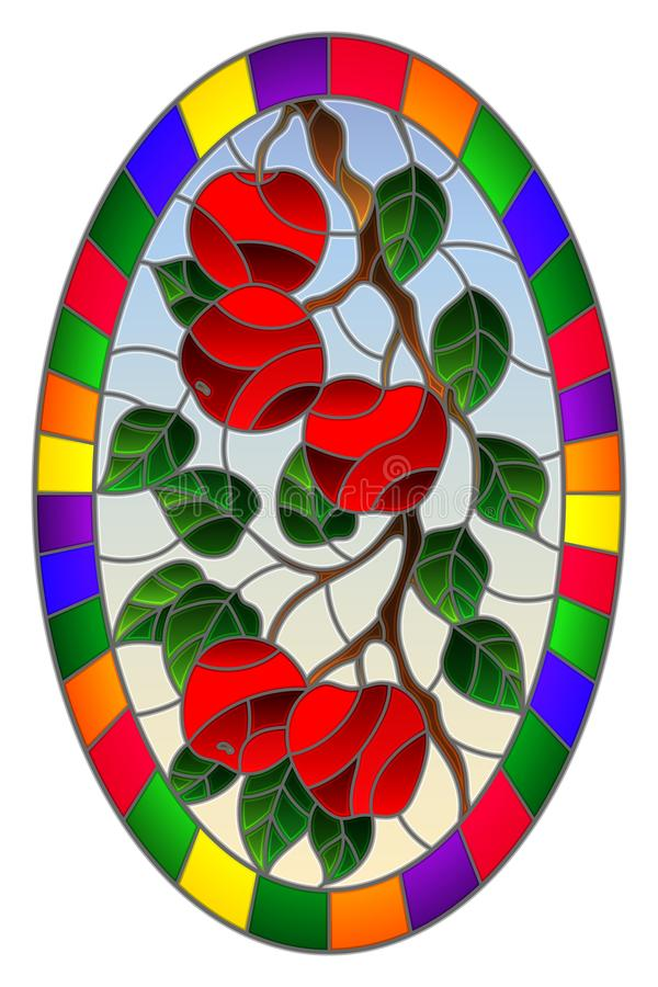 Stained glass illustration with the branches of Apple trees , the fruit branches and leaves against the sky,oval image in bright. Illustration in the style of a royalty free illustration