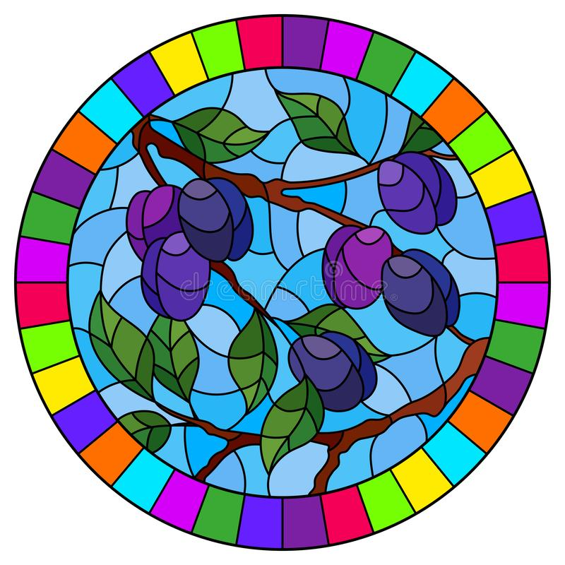 Stained glass illustration with the branches of plum  tree , the  branches, leaves and fruits against the sky, oval image in brigh. Illustration in the style of royalty free illustration