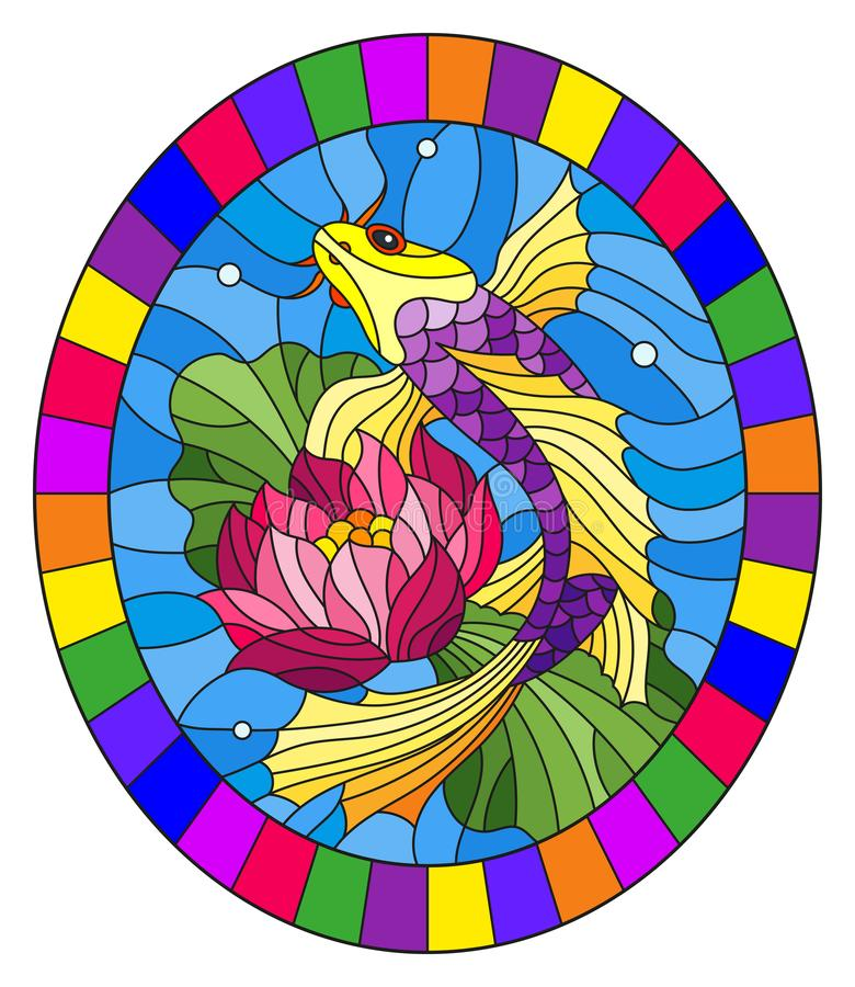 Stained glass illustration with a bright fish and a flower of a lotus against water and vials of air , oval image in bright frame stock illustration
