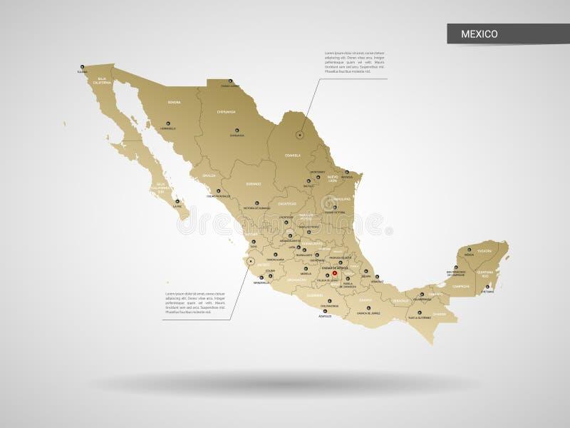 Illustration stylisée de vecteur de carte du Mexique illustration de vecteur