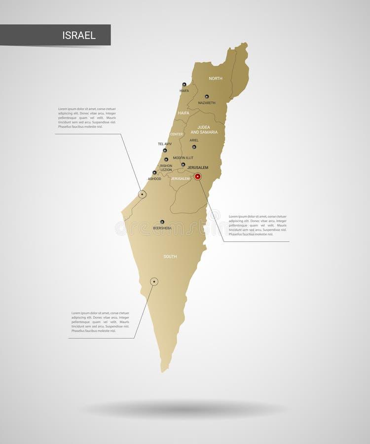Illustration stylisée de vecteur de carte de l'Israël illustration de vecteur