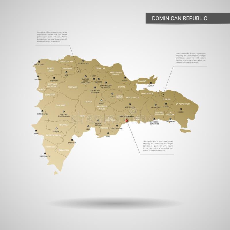 Illustration stylisée de vecteur de carte de la République Dominicaine  illustration de vecteur