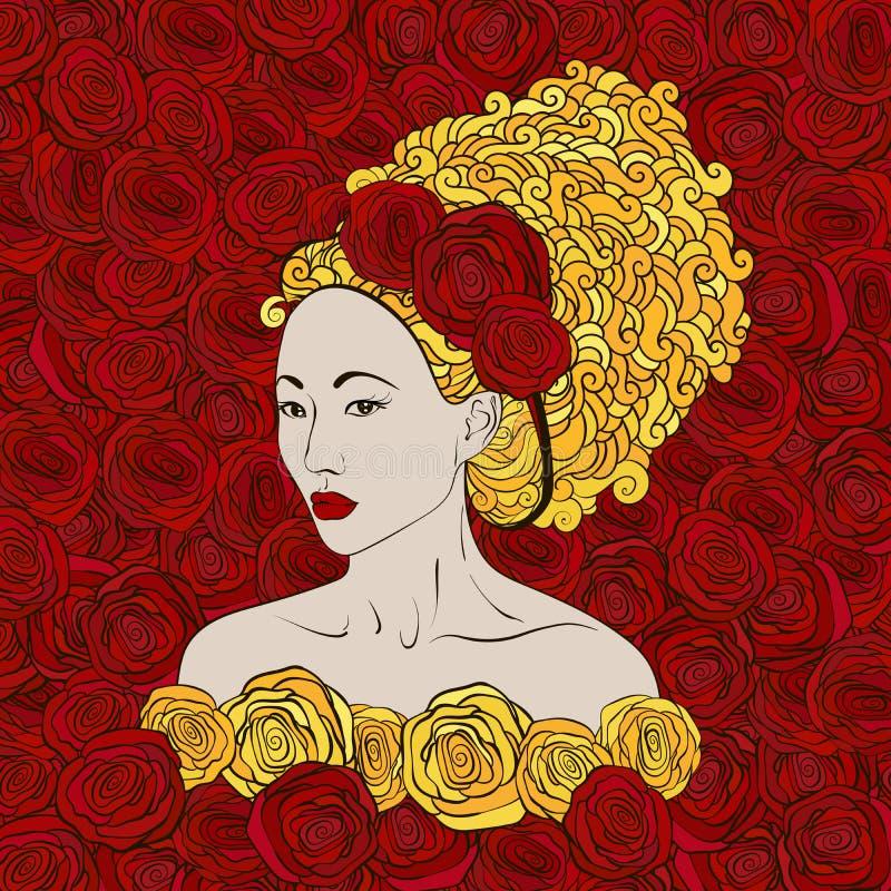 Illustration stylisée de vecteur d'un beau geisha illustration de vecteur