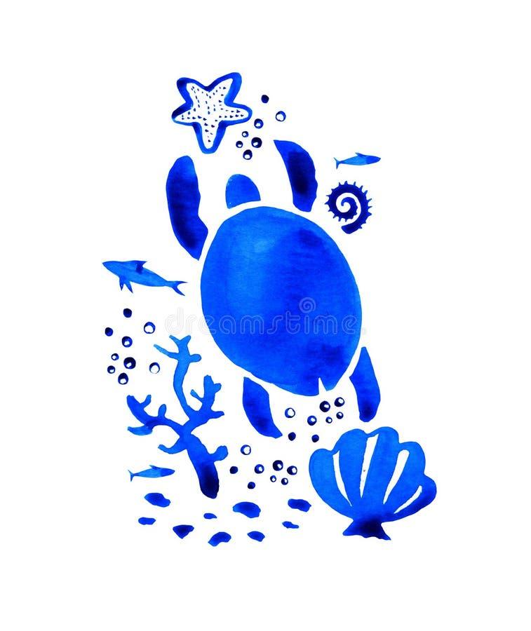 Illustration stylisée tirée par la main d'aquarelle de Sealife avec la tortue et la coquille illustration de vecteur
