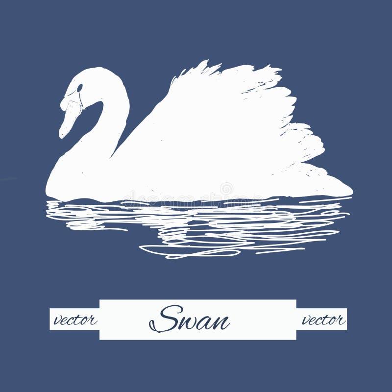 Illustration of stylization swan for logo design, stamp vector illustration