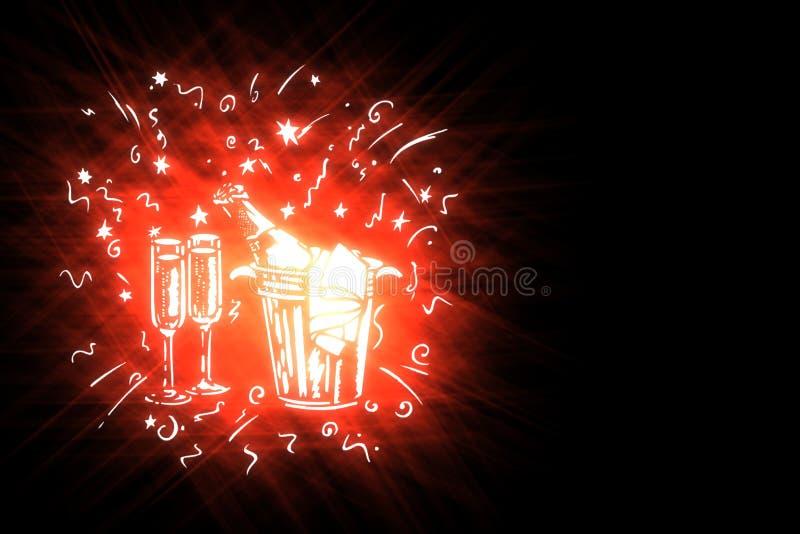 Illustration stylized holiday symbols on black background royalty free stock photo