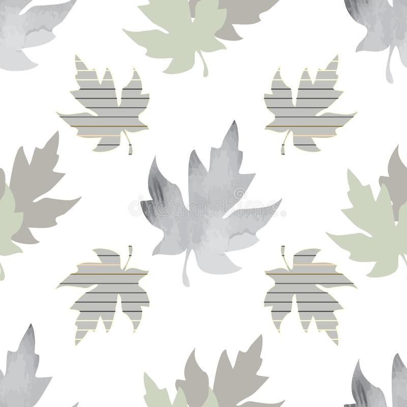 Seamless pattern with patterned leaves. Complex illustration print in grey, sage, yellow, white and green vector illustration