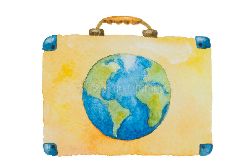 Illustration of a suitcase with blue planet earth for travel on a white background painted watercolor royalty free stock photo
