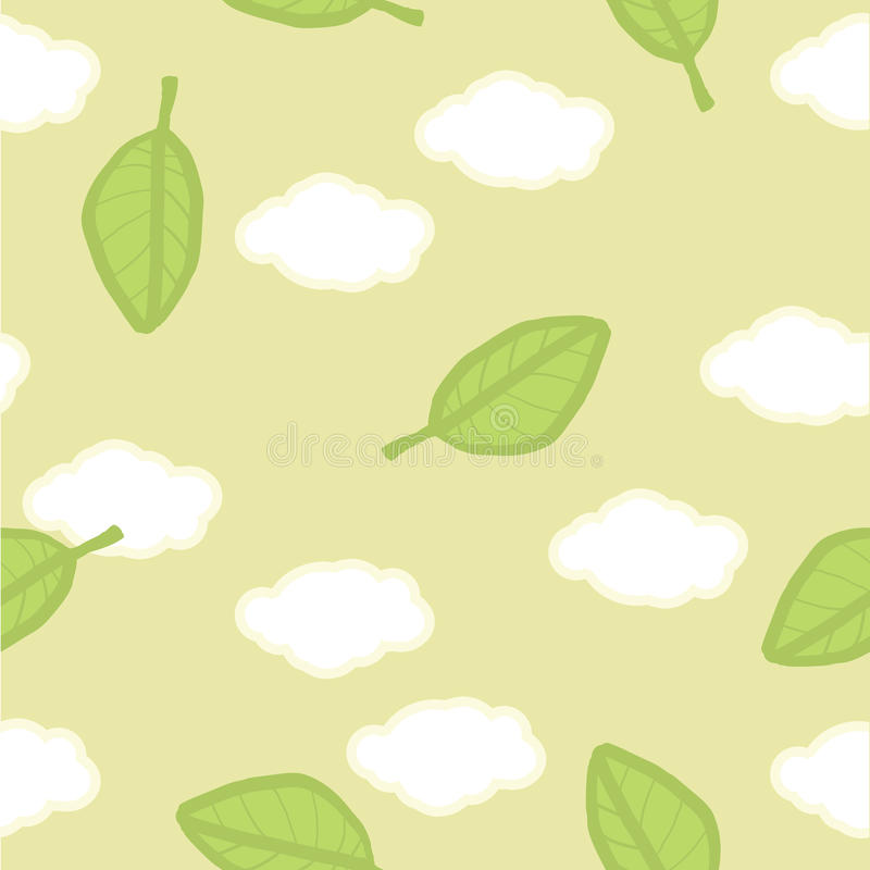 Download Seamless Vector Pattern. Summer Clouds And Leaves Stock Vector - Illustration: 29897810