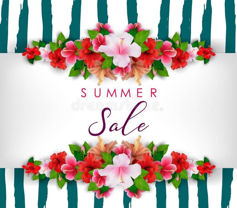 Summer sale background with tropical flowers vector illustration
