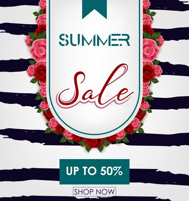 Summer sale background with tropical flowers. Up to 50% vector illustration