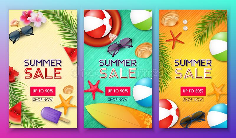 Summer sale poster set with 50% off discount and summer elements in colorful background vector illustration