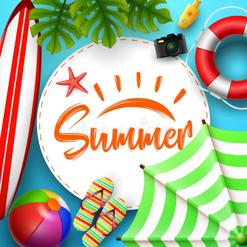 Summer time banner design with white circle for text and beach elements in blue background royalty free illustration