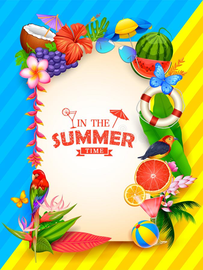 Summer time poster wallpaper for fun party invitation banner template stock illustration