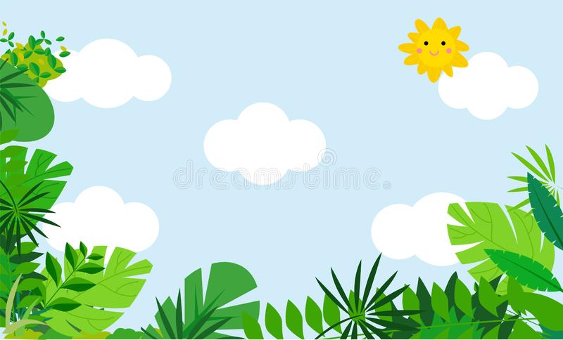 Summer tropical background with palm trees royalty free illustration