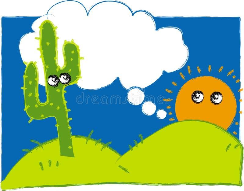 Illustration of Sun on the Desert stock images