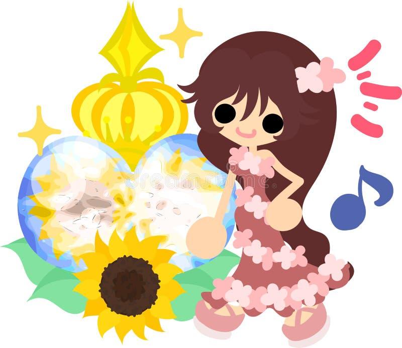 The illustration of sunflower girl stock illustration
