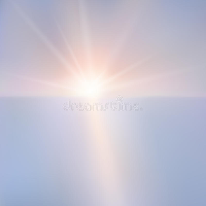 Illustration of sunset over the sea. stock illustration