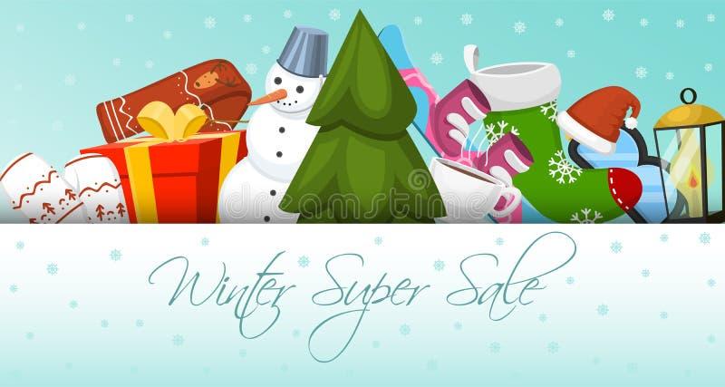 Illustration superbe de vecteur de bannière de vente d'hiver Paysage de nature avec l'arbre de Noël, bonhommes de neige, traîneau illustration stock