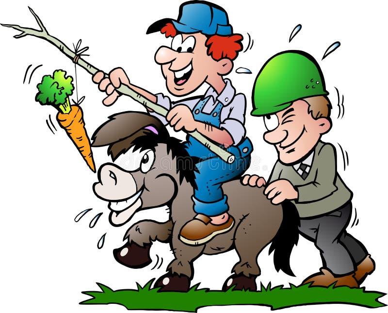 Illustration of an supervisor pushes a Donkey. Hand-drawn Vector illustration of an supervisor pushes a Donkey royalty free illustration