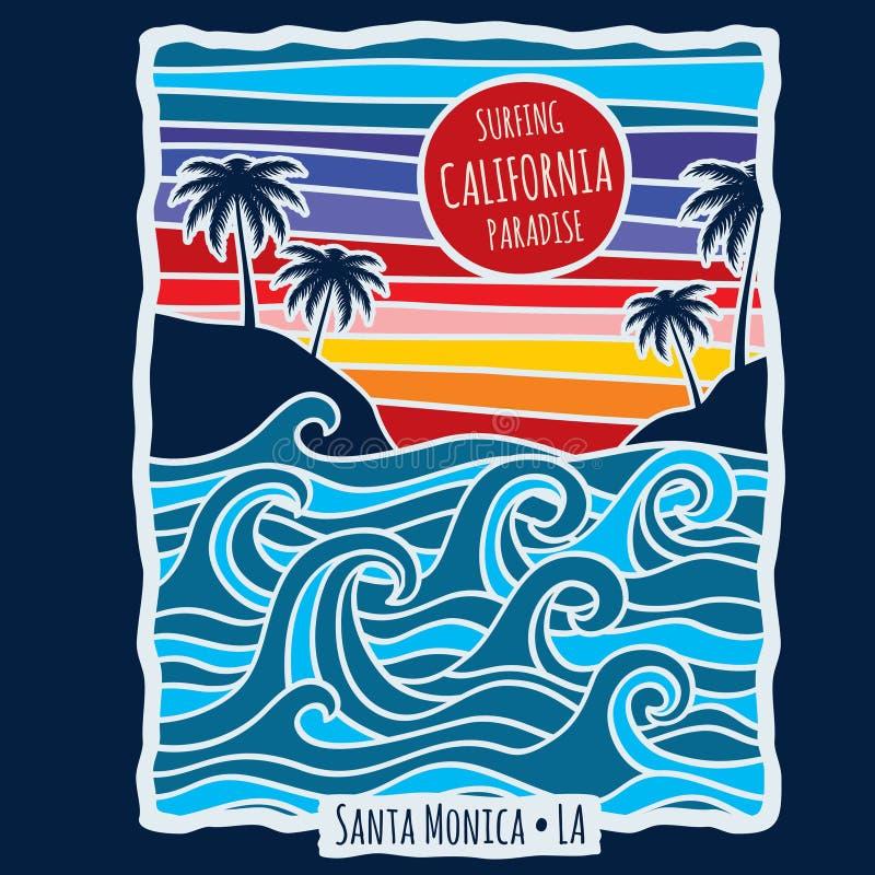 Illustration surfante de vecteur de conception d'impression de T-shirt de la Californie d'été de vintage illustration stock