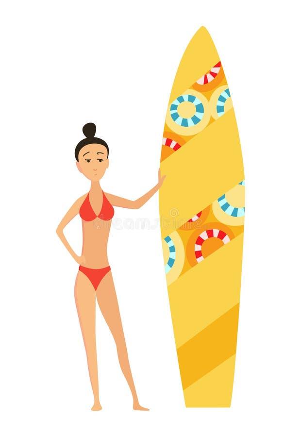 Illustration surfante de vecteur d'été de surfer de fille ou de jeune femme avec la planche de surf de couleur Affiche de bande d illustration stock