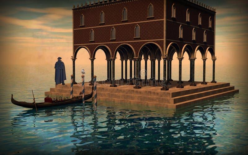 Illustration surréaliste de lagune de Venise illustration libre de droits