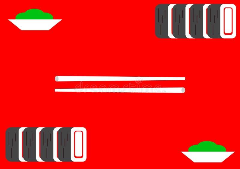 Illustration, Sushi auf rotem Hintergrund lizenzfreie abbildung