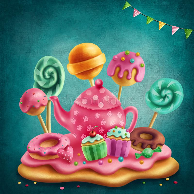 Download Illustration Of A Sweet Land Stock Illustration - Illustration of child, cake: 114082373
