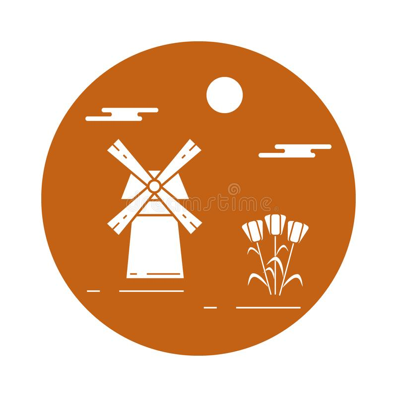 Illustration with symbols of Holland. Travel and leisure. Design for banner, poster or print royalty free illustration