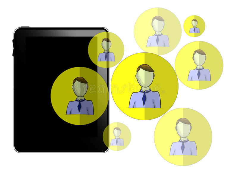 Illustration of tablet with social media heads isolated royalty free illustration