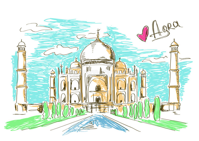 Illustration of Taj Mahal in Agra stock illustration
