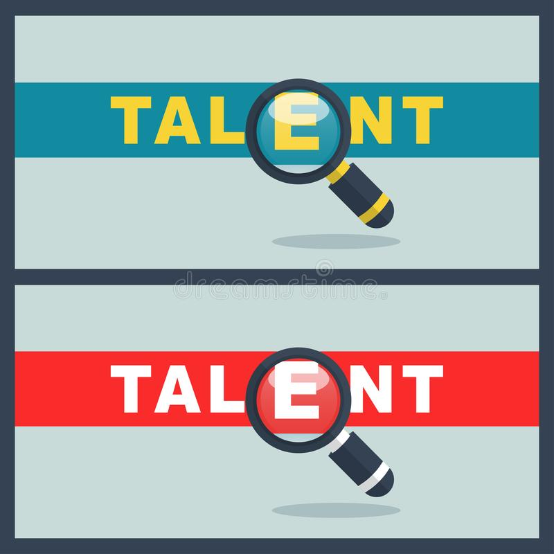 Talent word with magnifier concept. Illustration of talent word with magnifier concept royalty free illustration