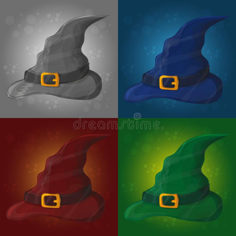 Illustration of tall witch hat on abstract background - halloween card vector illustration