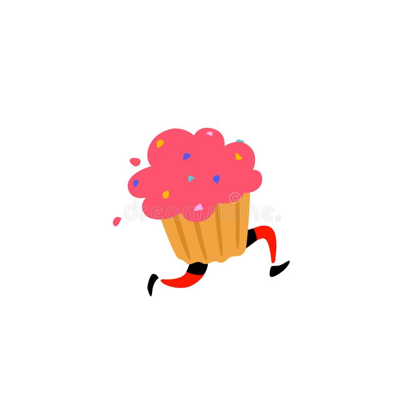 Illustration of a tasty muffin. Vector. Sweet character with legs. Icon for site on white background. Sign, logo for the store. De vector illustration