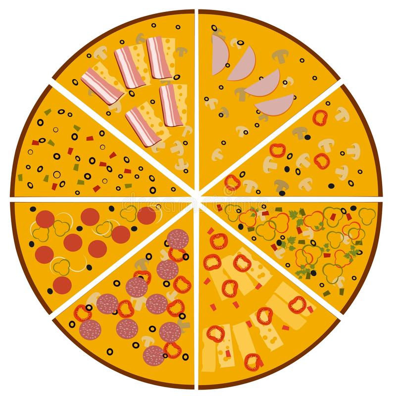 Illustration of tasty pizza. Slices of different pizzas Set. royalty free illustration
