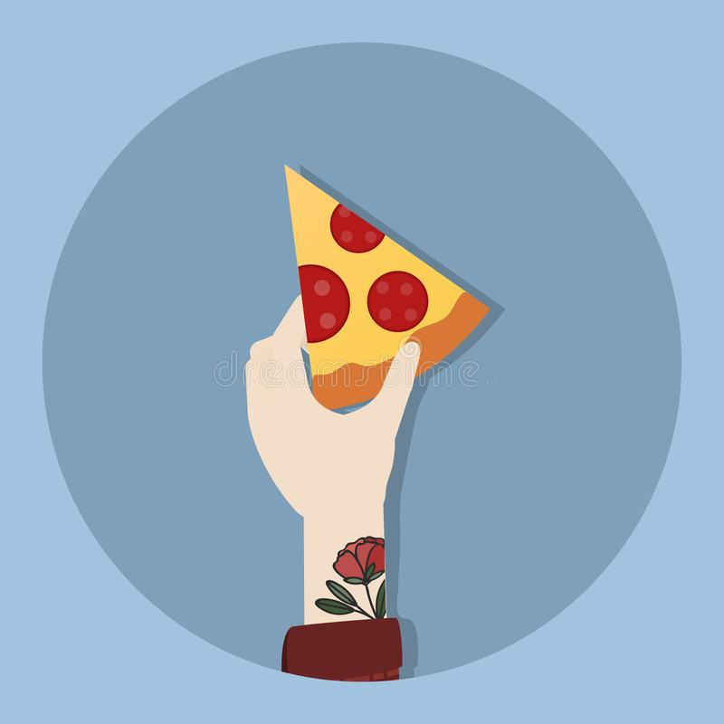 Illustration of tattooed hand holding pizza royalty free illustration